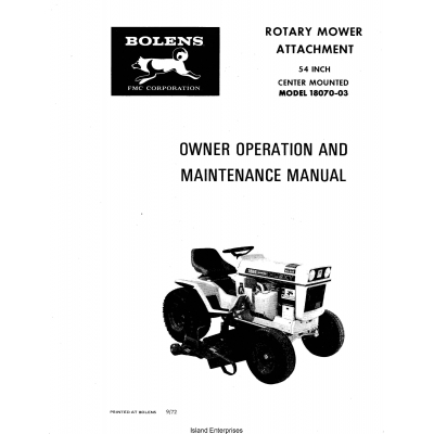Bolens 18070-03 Center Mounted 54 inch Rotary Mower Owner