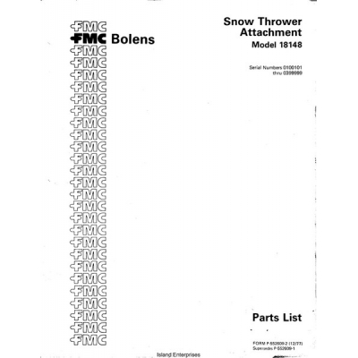 Bolens 18148 Snow Thrower Attachment Parts List 1977 $4.95