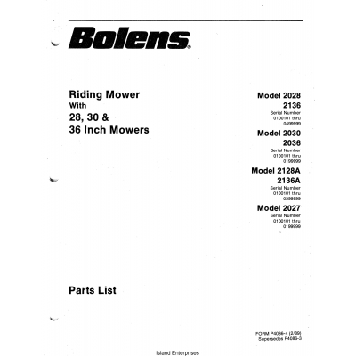 Bolens 2028, 2030, 2128A & 2027 Riding Mower With 28, 30