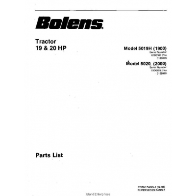 Bolens 5019H (1900) Tractor 19HP & 20HP Parts List 1986 $4.95