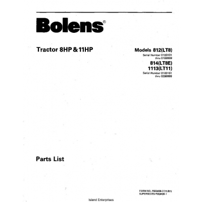 Bolens 814(LT8E) Tractor 8HP & 11HP Parts List 1981 $4.95