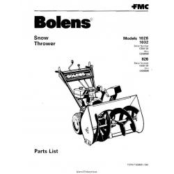 Bolens 826, 1026 & 1032 Walk Behind Snow Thrower Parts