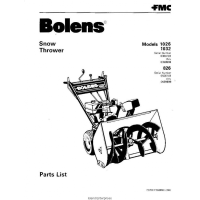 Bolens 826, 1026 & 1032 Walk Behind Snow Thrower Parts