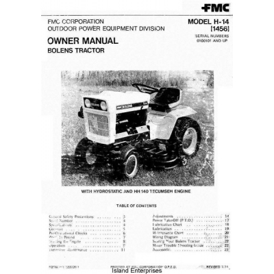 Bolens H-14 1456 Tractor Serial Numbers 0100101 and Up