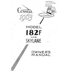 Cessna Model 182F Skylane Owners Manual 1963 $9.95