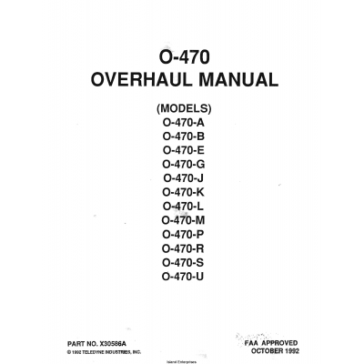 Continental Overhaul Manual for 0-470 PART NO. X30586A