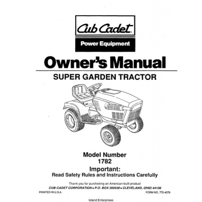 Cub Cadet 1782 Super Garden Tractor Owner's Manual $4.95