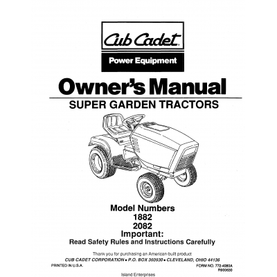 Cub Cadet 1882 & 2082 Super Garden Tractors Owner's Manual