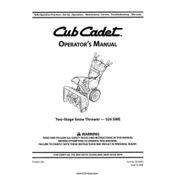 Cub Cadet 524 SWE Two-Stage Snow Thrower Operator's Manual
