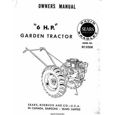 David Bradley 6 H.P Garden Tractor 917.575138 Owner's