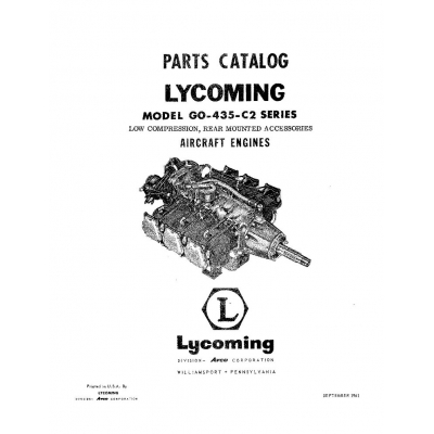 Lycoming Parts Catalog GO-435-C2 Series $13.95