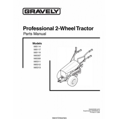 Gravely Professional 2-Wheel Tractor 985114 thru 985313