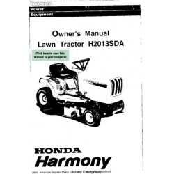 Honda Harmony H2013SDA Lawn Tractor Owner's Manual 1995