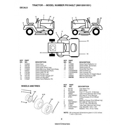 Husqvarna Tractor PK1942LT (96012001501) Repair Parts