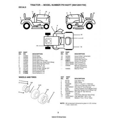 Husqvarna Tractor PK1942YT (96012001700) Repair Parts