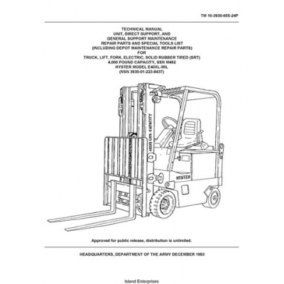 Hyster E40XL-MIL, NSN 3930-01-223-8437 Forklift TM 10-3930