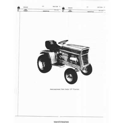 International Cub Cadet 107 Tractor Parts Manual $4.95