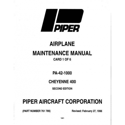Piper Cheyenne 400 Maintenance Manual PA-42-1000 $13.95