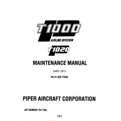 Piper Chieftain Maintenance Manual PA-31-350 T1020 $13.95