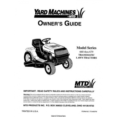 MTD Yard Machines Series 660 thru 679 Transmatic Lawn