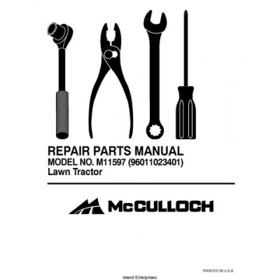 McCulloch Lawn Tractor M11597 (9601123401) Repair Parts