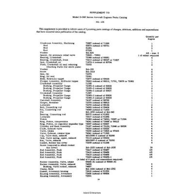 Lycoming Parts Catalog PC-105 Model O-340 PC-105 $13.95