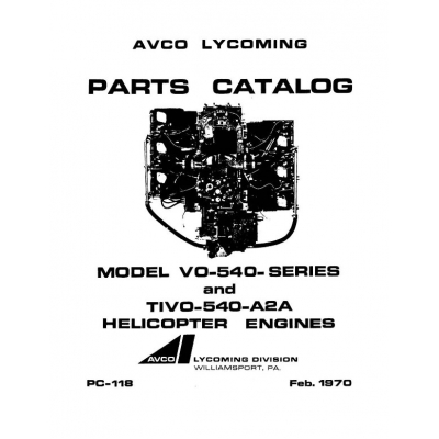 Lycoming Parts Catalog PC-118 VO-540 & TIVO-540 Series $13.95