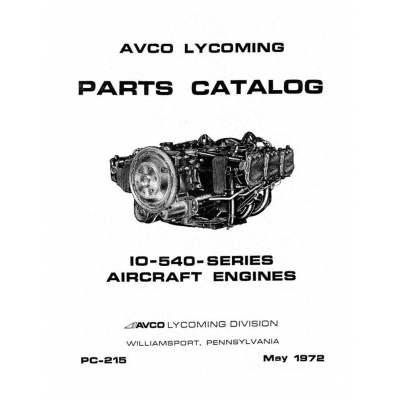 Lycoming Parts Catalog PC-215 IO-540-SERIES $13.95