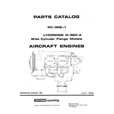 Lycoming Parts Catalog PC-306-1B O-360-A $13.95