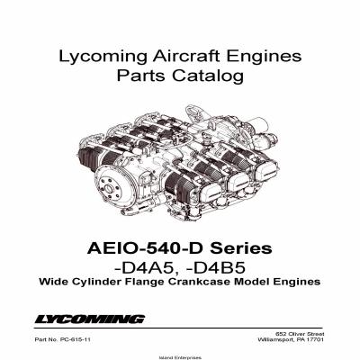 Lycoming Parts Catalog AEIO-540-D Series PC-615-11 $13.95