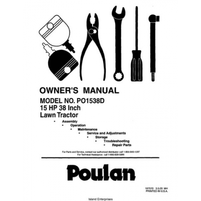 Poulan PO1538D 15 HP 38 Inch Lawn Tractor Owner's Manual