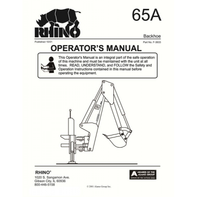 Rhino 65A Backhoe Part No. F-3633 Operator's Manual 2001 $4.95