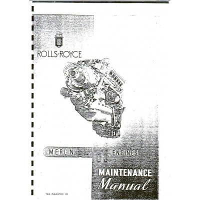 Rolls Royce Merlin Single Stage Maintenance Manual $13.95