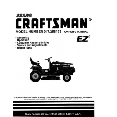 Sears Craftsman 15.5 HP 917.258473 Ride-on Mowers Owner's