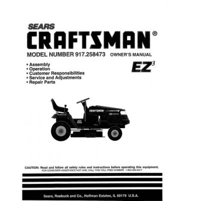 Sears Craftsman 15.5 HP 917.258473 Ride-on Mowers Owner's