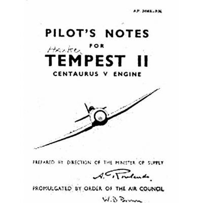 Hawker Tempest II Centaurus V Engine Pilot's Notes $2.95