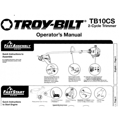 Troy-Bilt TB10CS 2-Cycle Trimmer Operator's Manual 2009 $4.95