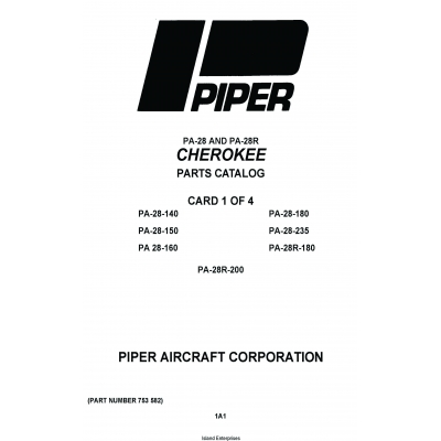 Piper Cherokee PA-28 and PA-28R Parts Catalog 753-582 $19.95