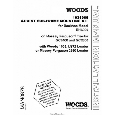 Woods 1031065 4-Point Sub-Frame Mounting Kit for Backhoe