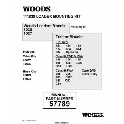Woods 111830 Loader Mounting Part Number 57789
