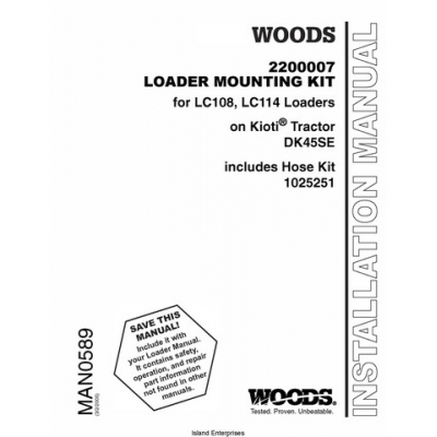Woods 2200007 Loader Mounting Kit for LC108, LC114 Loaders
