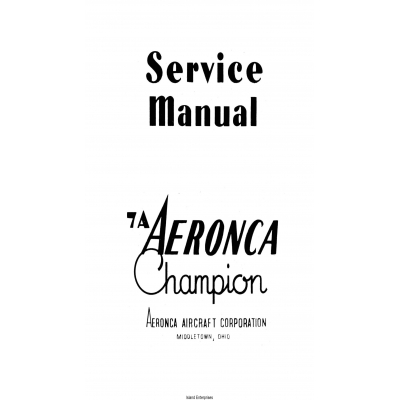 Aeronca 7A Champion Service Manual $7.95