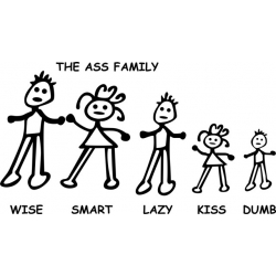 Ass Family Decal/Sticker 10.8
