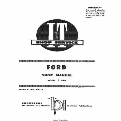 Ford I&T Shop Service Manual No. FO-19 Shop Manual $4.95