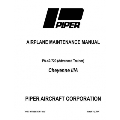 Piper Cheyenne IIIA Maintenance Manual PA-42-720 $13.95