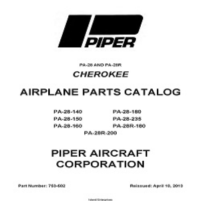 Piper Cherokee PA-28, PA-28R Parts Catalog 753-582v2013 $29.95