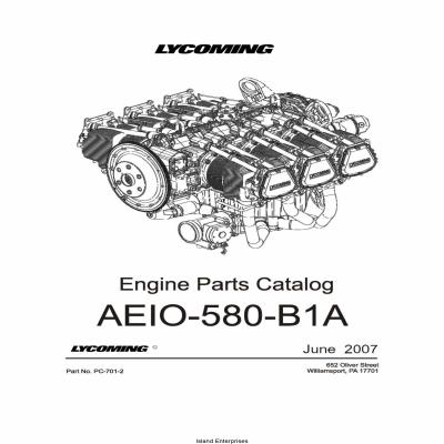 Lycoming Parts Catalog AEIO-580-B1A Part # PC-701-2 $19.95