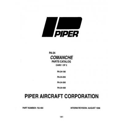 Piper Comanche Parts Catalog PA-24-180/250/260/400 $13.95