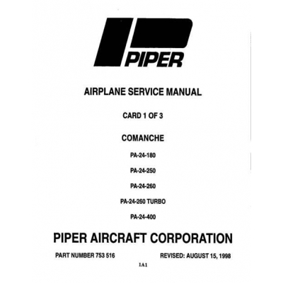 Piper Comanche Service Manual PA-24-180/250/260/400 $13.95