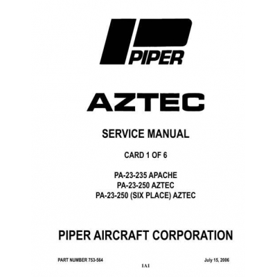 Piper Apache/Aztec Service Manual 2006 PA-23-235/250 $13